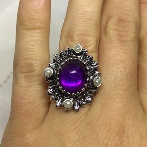 Sarah Coventry adjustable ring purple and pearl